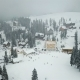 Snow-covered Ski Resort in the Mountains with Christmas Trees - VideoHive Item for Sale