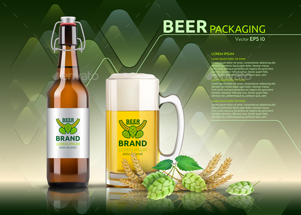 Vector Realistic Beer Bottle and Glass - Food Objects
