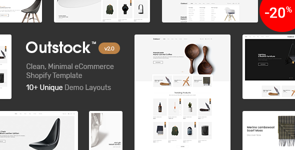 Shopify  - Outstock  Clean, Minimal , Drag & Drop