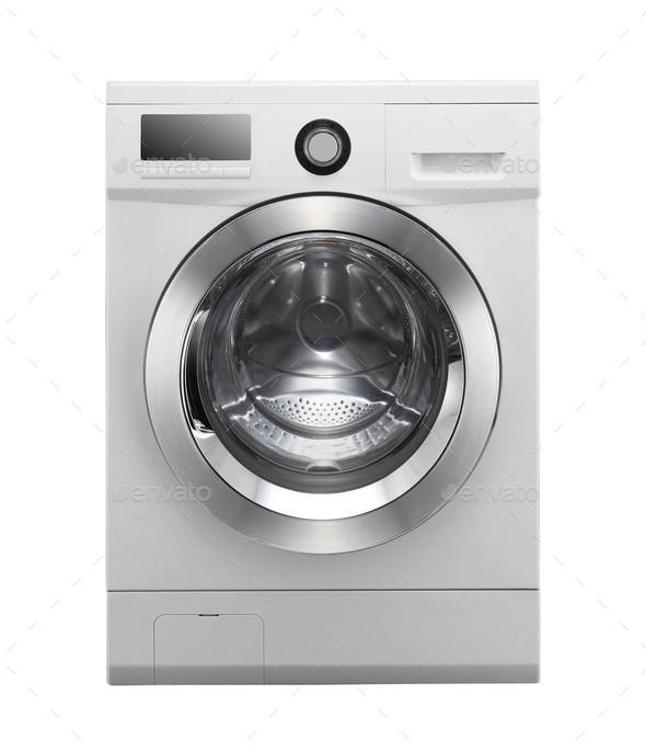 Closed washing machine on white background - Stock Photo - Images