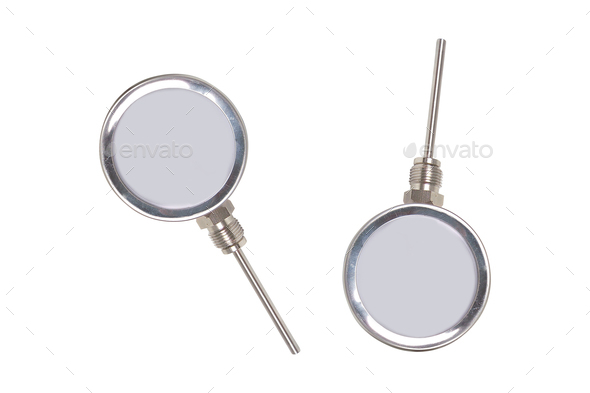 Metal analogue barometer isolated - Stock Photo - Images