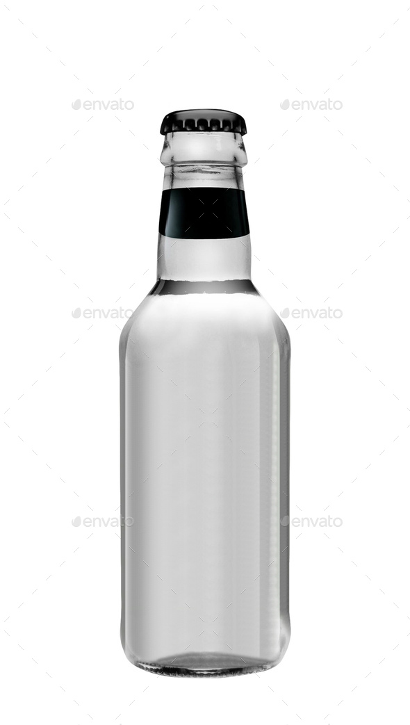 Soda water in glass bottle isolated on white background - Stock Photo - Images