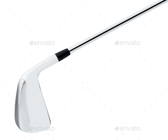 metal golf club on white background - Stock Photo - Images