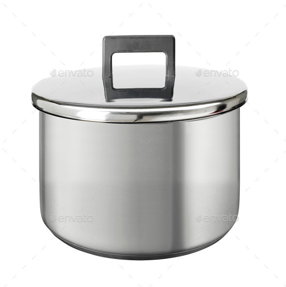 stainless steel cooking pot isolated on white - Stock Photo - Images