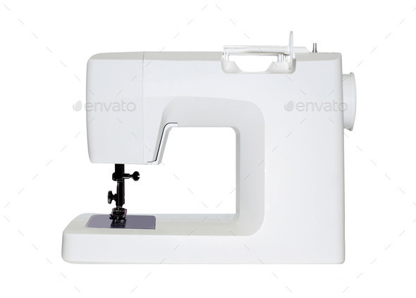 sewing machine isolated on white - Stock Photo - Images