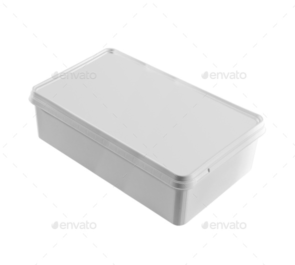 Plastic food box isolated on white background - Stock Photo - Images