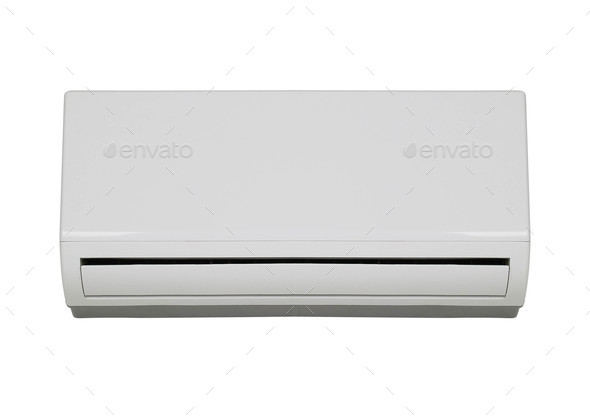 White color air conditioner machine isolated on white background - Stock Photo - Images
