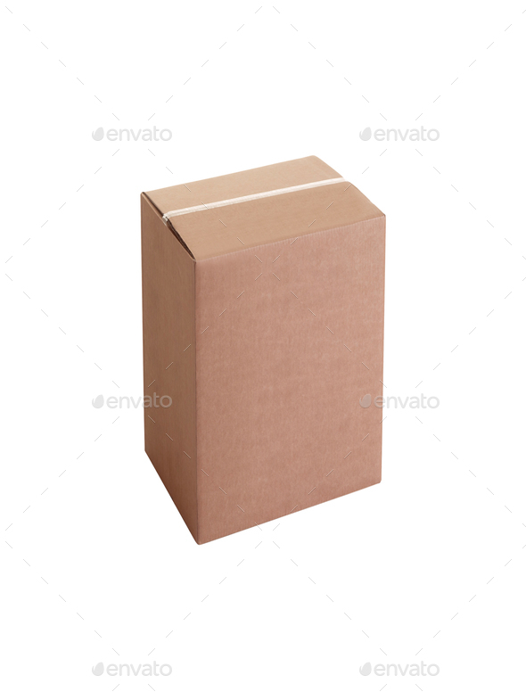 Closed cardboard box - Stock Photo - Images