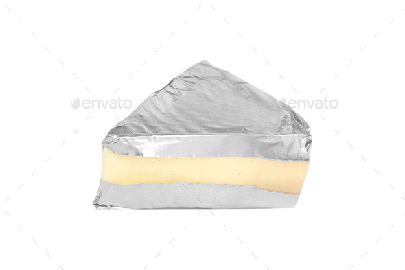 Cream cheese in triangle shape isolated on white - Stock Photo - Images
