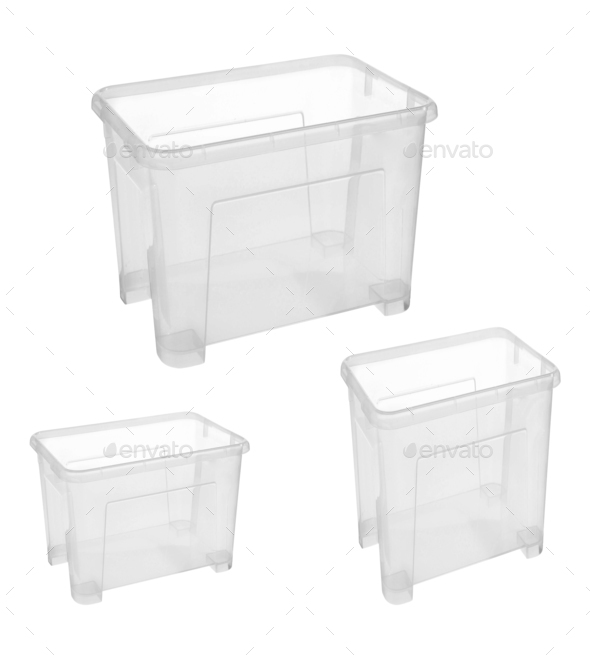 Set of plastic household baskets for storage - Stock Photo - Images