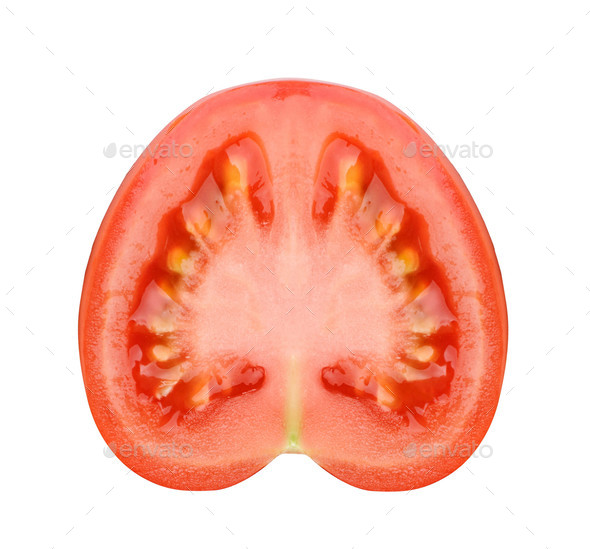 Tomato slice isolated on white - Stock Photo - Images