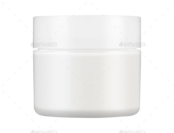 White Matte Glass Doublewall Jar With Plastic Lid - Stock Photo - Images