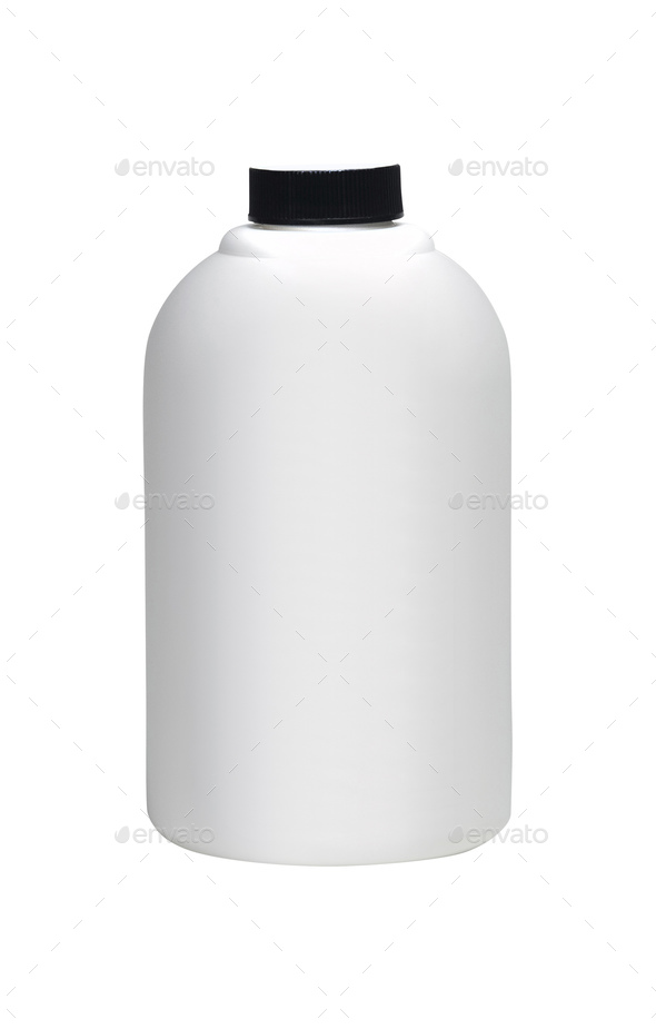 close up of a white bottle on white background - Stock Photo - Images