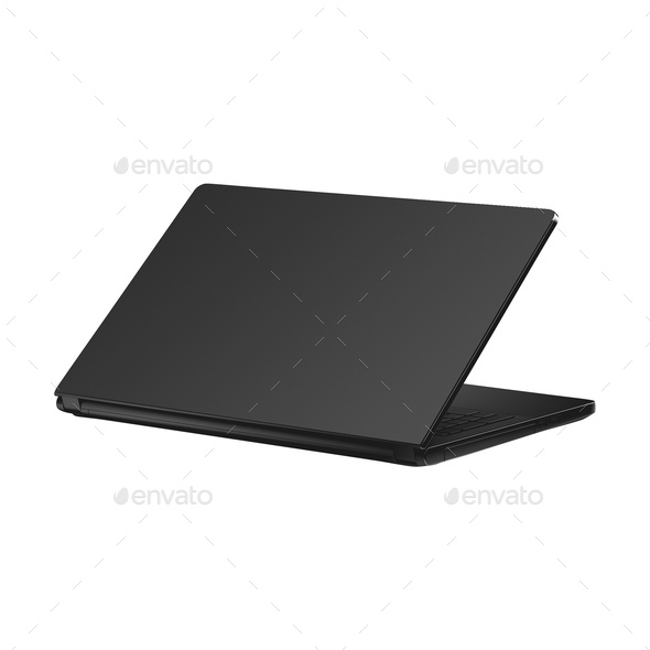 Black Laptop isolated on white background - Stock Photo - Images
