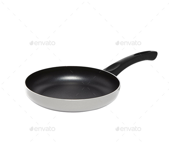 black frying pan isolated on white - Stock Photo - Images