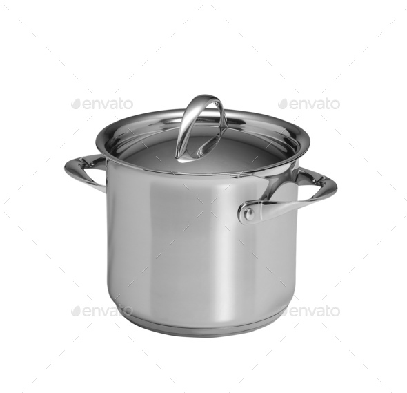 Used stock pot isolated on white - Stock Photo - Images