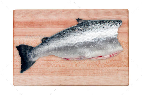 Raw seabass fish on the wooden board - Stock Photo - Images