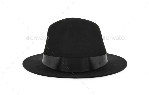 retro black hat isolated on white - Stock Photo - Images