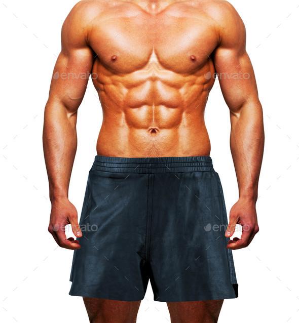 man wearing shorts on white background - Stock Photo - Images