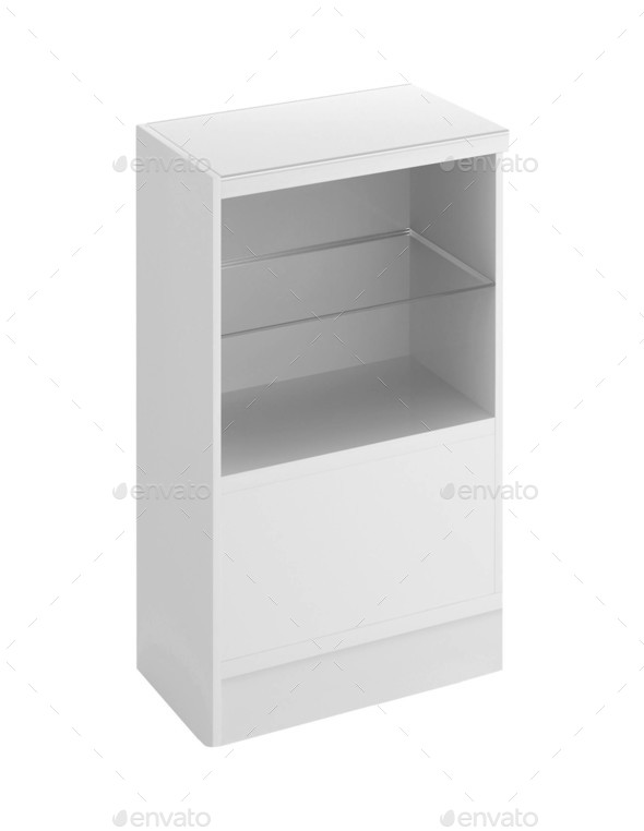 wooden cabinetisolated on white background - Stock Photo - Images