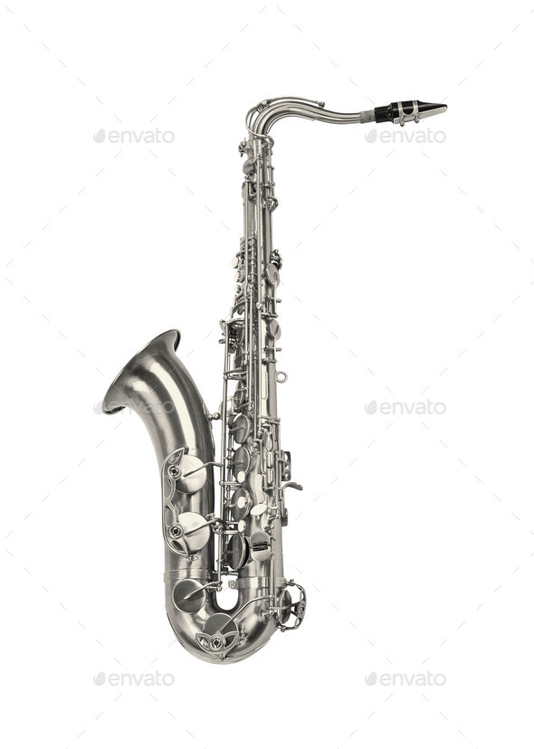 silver saxaphone on the white background - Stock Photo - Images