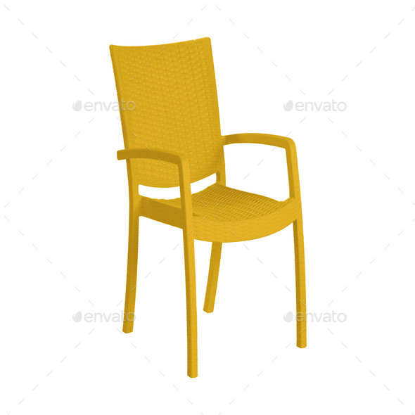 Yellow modern chair isolated on white background - Stock Photo - Images