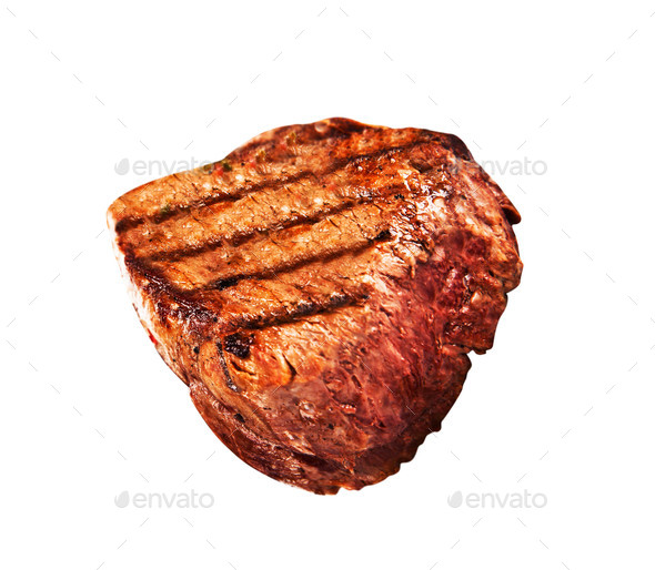 Grilled bbq steak on white background - Stock Photo - Images