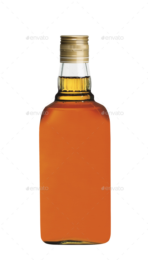 wisky bottle isolated on white - Stock Photo - Images