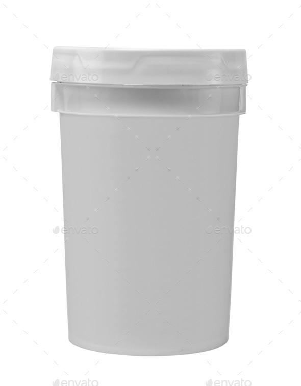 blank white tub paint plastic bucket - Stock Photo - Images