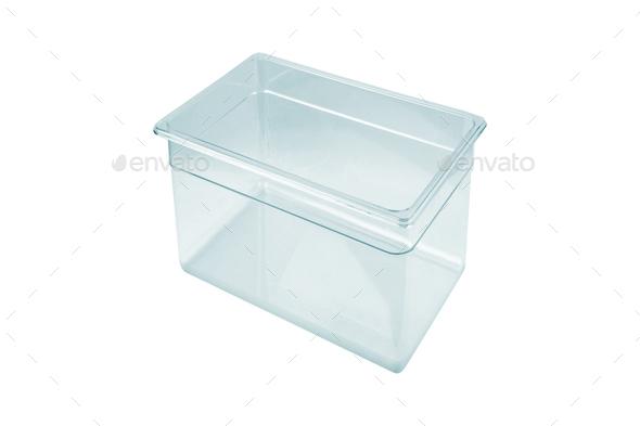 Plastic food box isolated on white background - Stock Photo - Images