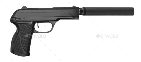 special operation handgun with silencer on white background - Stock Photo - Images