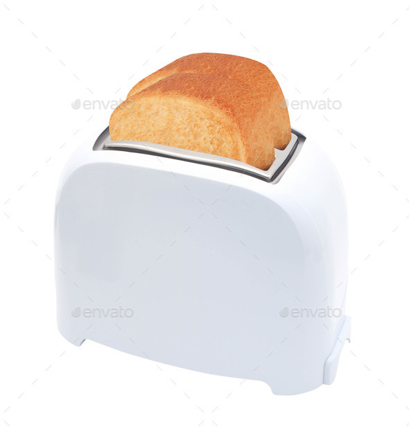 Toaster with bread isolated on white background - Stock Photo - Images