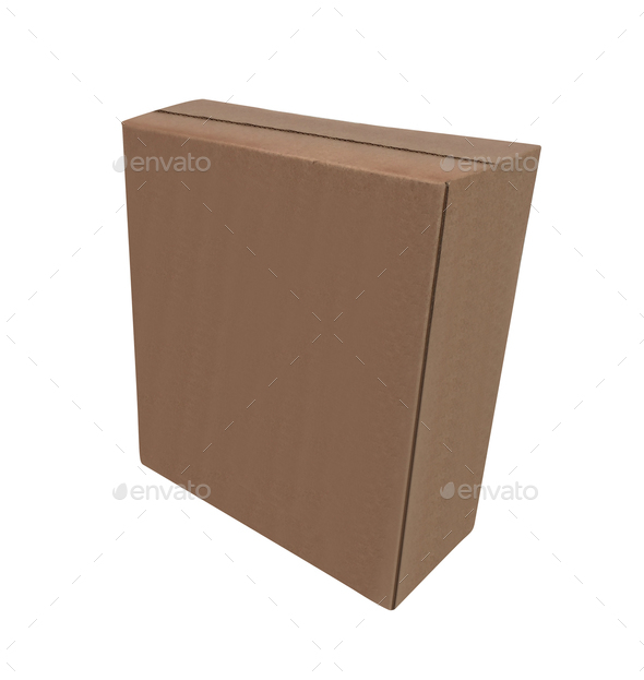 a cardboard box isolated on a white background - Stock Photo - Images