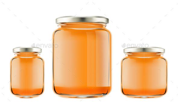 bottles with honey isolated - Stock Photo - Images