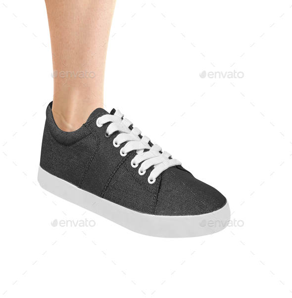Blue sport shoe for running isolated on white - Stock Photo - Images
