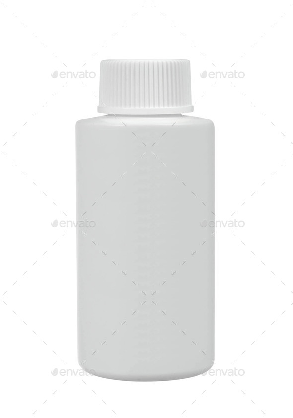White medical container on white background - Stock Photo - Images