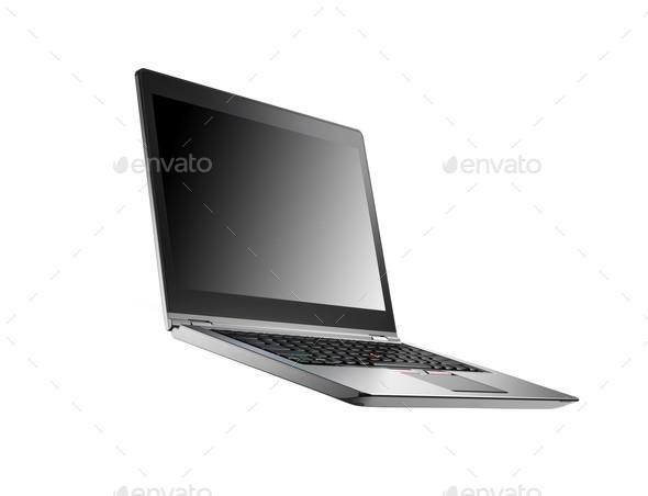 Laptop isolated on white background - Stock Photo - Images