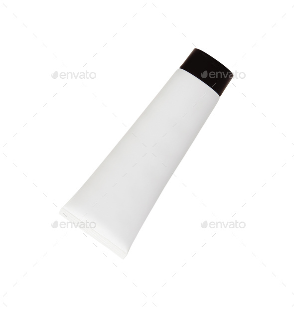 White tube for cream isolated on white - Stock Photo - Images
