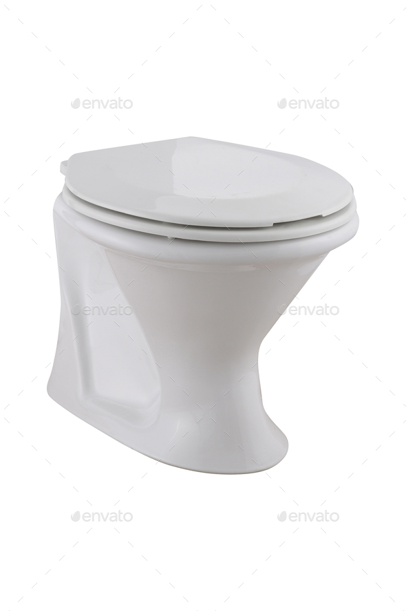 White toilet bowl, isolated on white - Stock Photo - Images