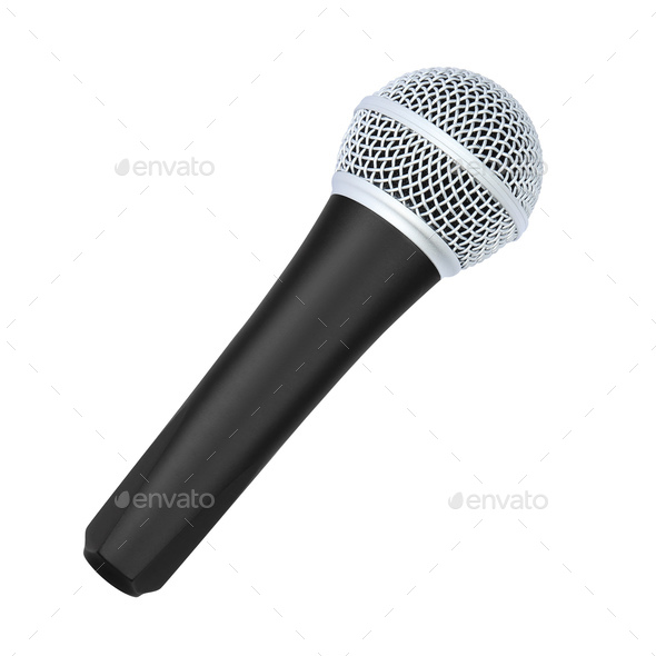 microphone isolated on white background - Stock Photo - Images