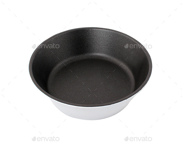 black frying pan isolated on white background - Stock Photo - Images