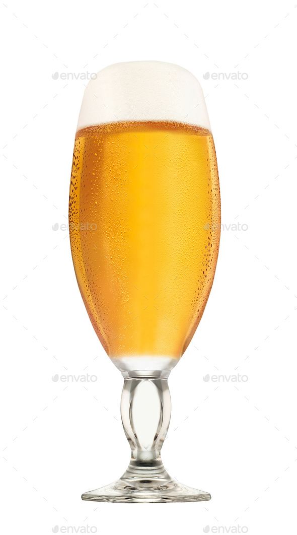 Glass of beer isolated on white - Stock Photo - Images