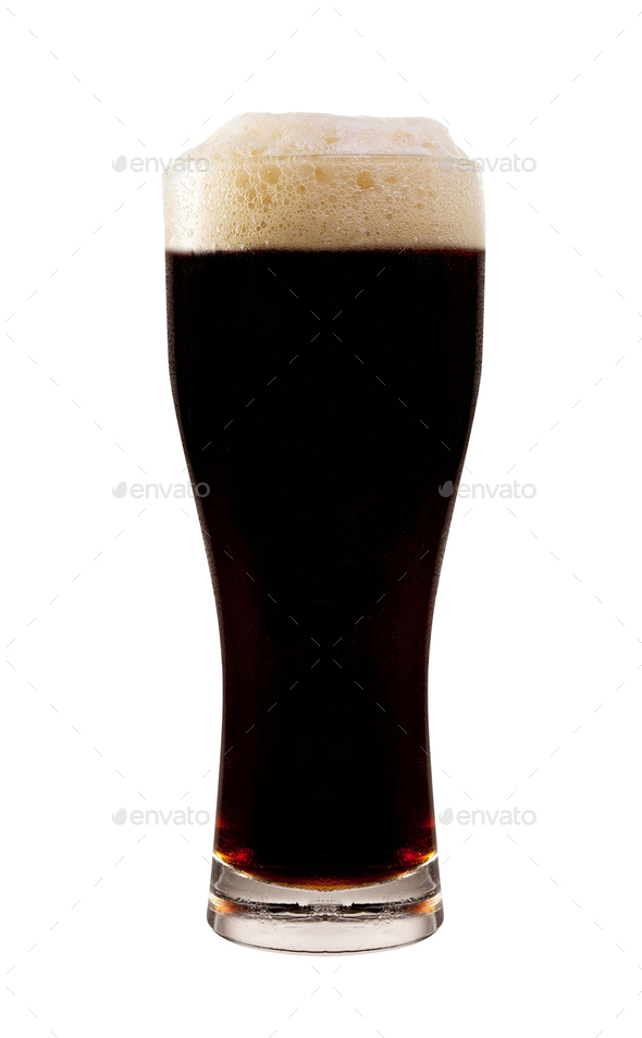 glass of dark beer isolated on white background - Stock Photo - Images