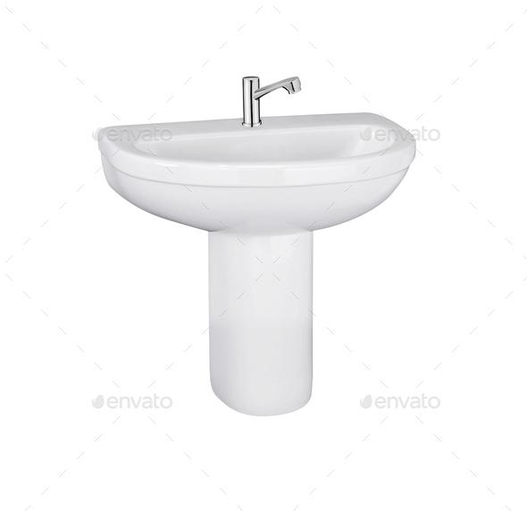 Washbasin isolated on white background - Stock Photo - Images
