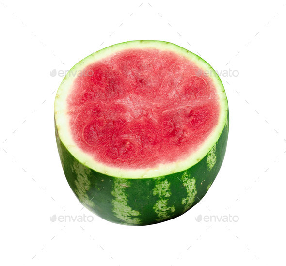 Sliced ripe watermelon isolated on white background - Stock Photo - Images