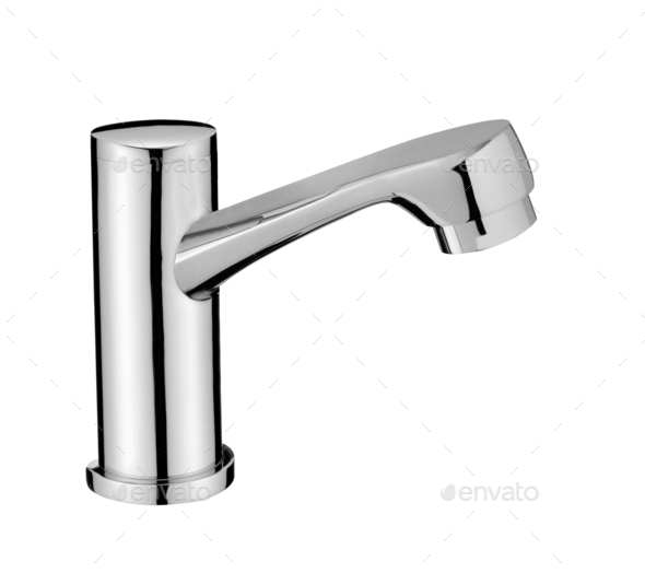 Chrome Water Faucet Isolated on White Background - Stock Photo - Images