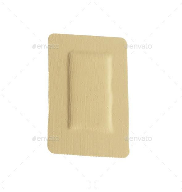 Square adhesive bandage isolated on white - Stock Photo - Images