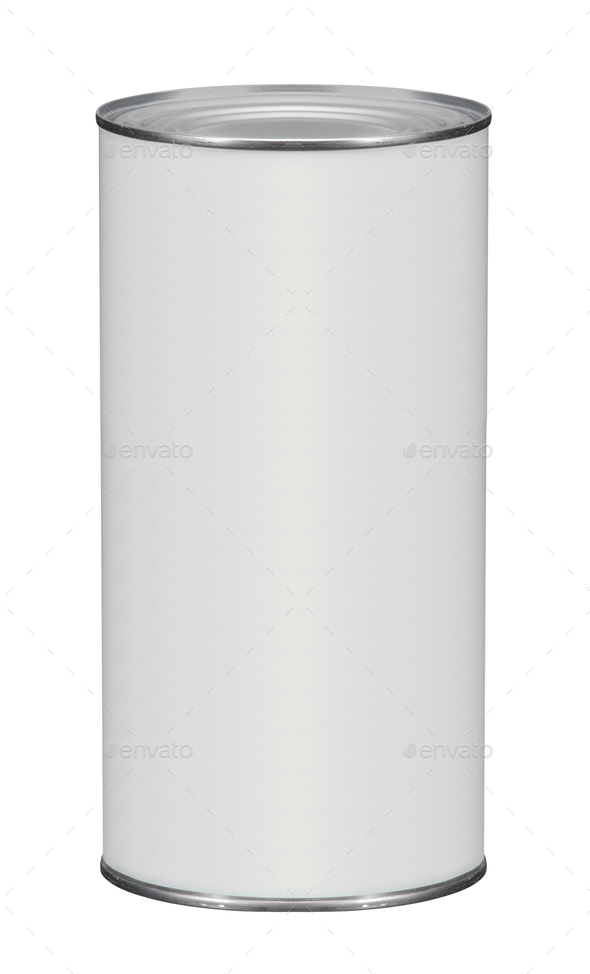 white tin can on white background - Stock Photo - Images