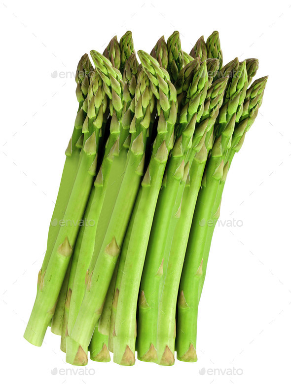 Fresh green asparagus on white - Stock Photo - Images