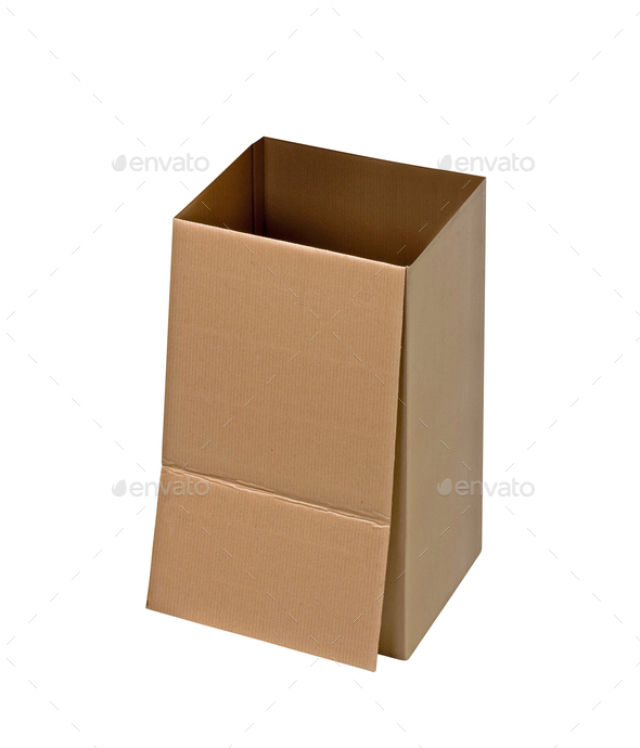 Cardboard Box on White - Stock Photo - Images